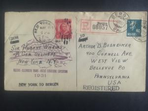 1931 Bergen Norway to USA Hubert Wilkins Submarine North Pole Expedition Cover