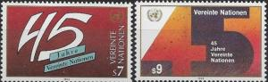 United Nations 1990 Vienna 45th Anniversary of UN SC# 103-104 MNH