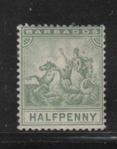 BARBADOS #71  1892  1/2p   BADGE OF THE COLONY  MINT  F-VF  HR  O.G  aa