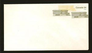 Canada U116 34 Cent Olive Yellow Rail Cars #8 Envelope MNH