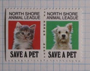 North Shore Animal League kitten puppy Humane shelter pet charity stamp seal ad