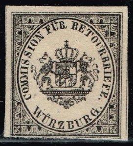 1865 Wurzburg Bavaria German States Arms Crest Returned Letter Label Seal Stamp