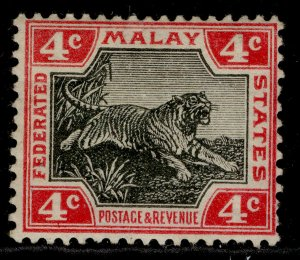 MALAYSIA - Federated Malay EDVII SG36c, 4c black & scarlet, M MINT. Cat £35.