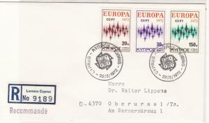 Cyprus 1972 Registered Double CEPT Cancels FDC Europa Stamps Cover Ref 27657