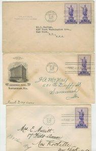 1937 HAWAII KAMEHAMEA 799 SET OF 3 FDCs Singles/Pairs