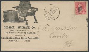 DESHLER HARDWARE Co ILLUSTRATED ADVERTISING COVER VF 1894 W/ #220 BS1674