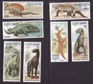 D4-Cambodia-Sc#663-9-unused NH set-Prehistoric Animals-Dinos