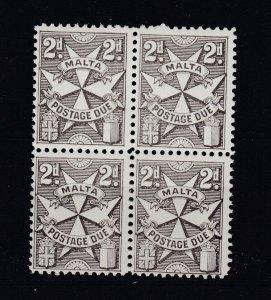 Malta 1967 2d Postage Due Block Of 4 MNH J6668