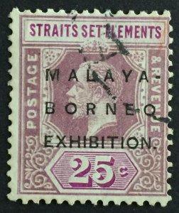 Malaya-Borneo Exhibition opt Straits Settlements KGV 25c USED SG#245 M2343