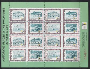 STAMP STATION PERTH Philippines #2451 Rizal Historical ASEANPEX Full Sheet MNH