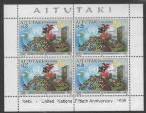 AITUTAKI #512a 1995 U.N 50TH ANNIV MINT VF NH O.G BLK 4