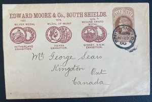 1900 South Shields England Stationery Advertising Wrapper Cover Moore's Crystal