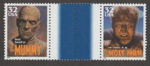 U.S. Scott #3168-3172 Classic Movie Monster Stamps- Mint NH Vertical Gutter Pair
