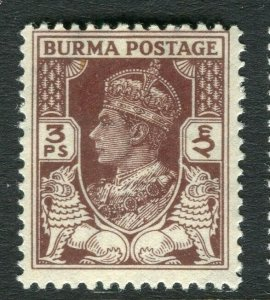 BURMA; 1946 early GVI issue fine Mint hinged 3p. value