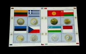 U.N. 2011, VIENNA #483, FLAG & COIN ISSUE, MNH, SHEET/8, NICE LQQK