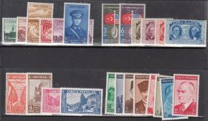 Turkey - Scott 805 // 840 Mint NH sets (Catalog Value $64.50)