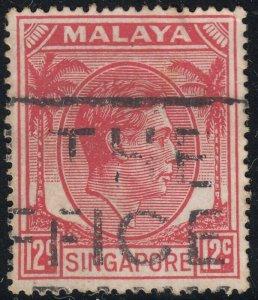Singapore 1952 KGVI 12c Scarlet Used