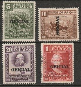 Ecuador 1936 Sc O191-4 official partial set MH*/used