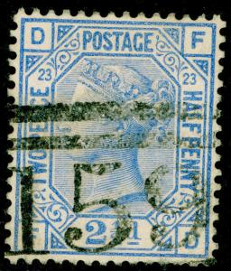 SG157, 2½d blue PLATE 23, USED. Cat £32. FD