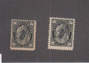 CANADA (MK6853) # 66x2 FVF-MH 1/2cts 2 QUEEN VICTORIA MAPLE LEAF / BLACK  CV $21