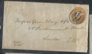BURMA (P0209B)  1897 INDIA USED IN QV PSE RANGOON TO ENGLAND