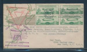 #C18 BLK/4 1933 ON ZEPPELIN FLOWN COVER GEMANY TO NEW YORK F-VF BU6851