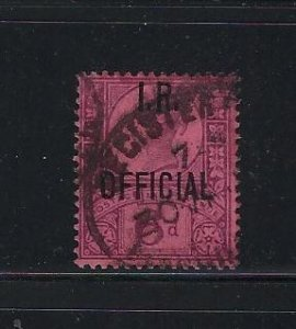GREAT BRITAIN SCOTT #O17 1901 I.R. OFFICIAL 6P  (VIOLET/ROSE) - USED