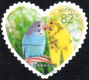 Japan 4063f - Used - 82y Budgerigars (Parakeets) (2016) (cv $1.10)