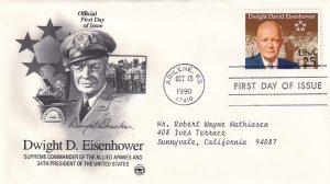 1990, Honoring Dwight D. Eisenhower, PCS, FDC (E12210)
