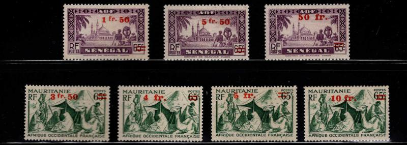 French West Africa Scott 1-7 MH* 1942 overprint stamp set