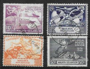 MALAYA SELANGOR SG111/4 1949 U.P.U. SET USED