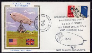 US Lisda Honors Dirigible R-34 First to Cross the Atlantic 1974 Colorano Cover