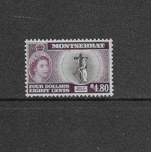Montserrat 142 1955 $4.80 QEII High Value Mint OG LH CV $40