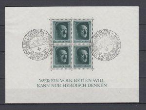 WWII Third Reich 1937 Block Michel 7 VFU Nurenberg Postmark