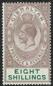 GIBRALTAR 1921 KGV 8/-