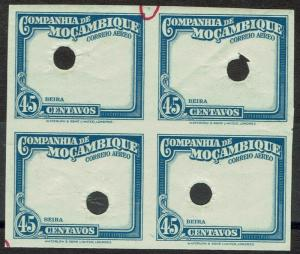MOZAMBIQUE COMPANY 1935 AIRMAIL 45C IMPERF PROOF BLOCK FRAME ONLY MNH **