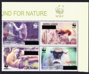 Sierra Leone WWF Patas Monkey with overprint Top Right Block of 4 WWF Logo RARE