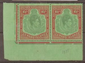 LEEWARD ISLANDS SG113 1938 10/= CORNER PAIR MTD MINT