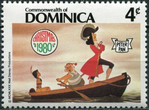 Dominica 1980. Captain Hook and pirate Smee kidnap Tiger Lily (MNH OG) Stamp