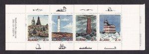 Aland islands   #64-67a   MNH   1992  booklet  lighthouses