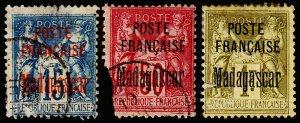 Madagascar - Malagasy Republic Scott 16, 19, 21 (1895) Used P-F, CV $149.50 C