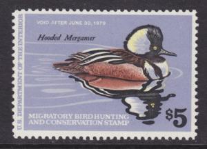 US Sc RW45 MNH. 1978 $5 Hooded Merganser Duck Stamp