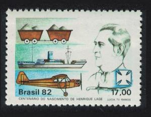 Brazil Airplane Ship Coal Birth Centenary of Henrique Lage industrialist SG#1942