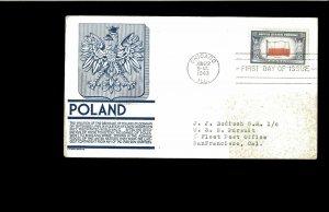 1943 FDC Overrun Nations Poland  Chicago IL
