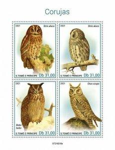 Sao Tome & Principe 2021 MNH Birds on Stamps Owls Tawny Owl Eagle-Owl 4v M/S