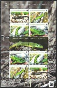 Bosnia and Herzegovina. 2010. Small sheet 299-302. Lizards, WWF. MNH.