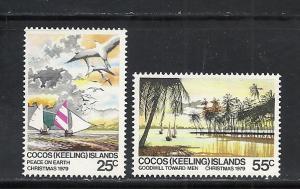 Cocos Islands #51-2 comp mnh Scott cv $1.00 Christmas Boats