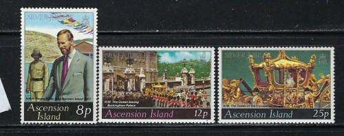 Ascension 218-20 NH 1977 QEII Silver Jubilee
