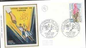 FR 120 France 1970 LUTTE CONTRE LE CANCER FR Silk  FDC  $4.00