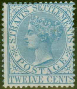 Straits Settlements 1867 12c Blue SG15 Fine Mtd Mint